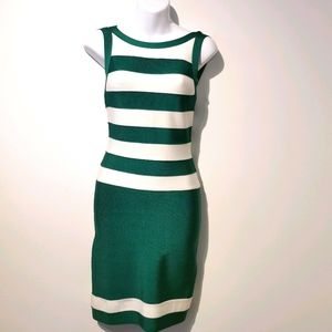 Bebe bodycon small green and white dress